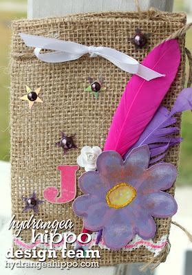 Heather Landry_Burlap Bag_Purple Flower_Gift