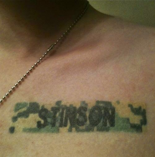 """Ashley Swartz """"I got this Tattoo after my twin brother died. He committed suicide after three tours in the Middle East with the US Army. I had his name badge tattooed right where I put my hand over my heart for the Pledge of Allegiance. Every pledge is a tribute to his service and sacrifice."""" AMAZING"""