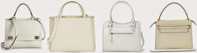 Three of these white satchels sell for more than $3k! The other is from Forever 21 for $24.90. Can you guess which on is the Forever 21 handbag? Click the links below to see if you are correct!