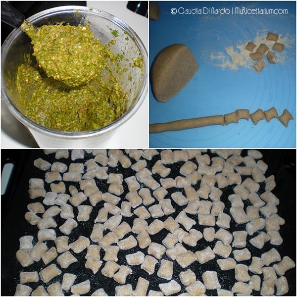 Gnocchetti di farro con pesto di rucola e pomodori secchi