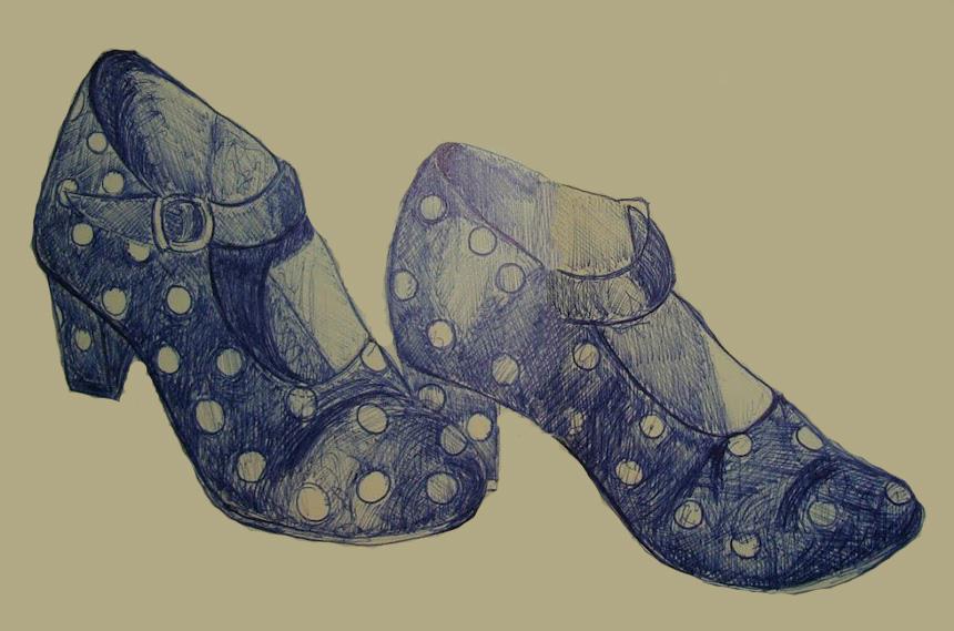 Los zapatos de lunares rojos