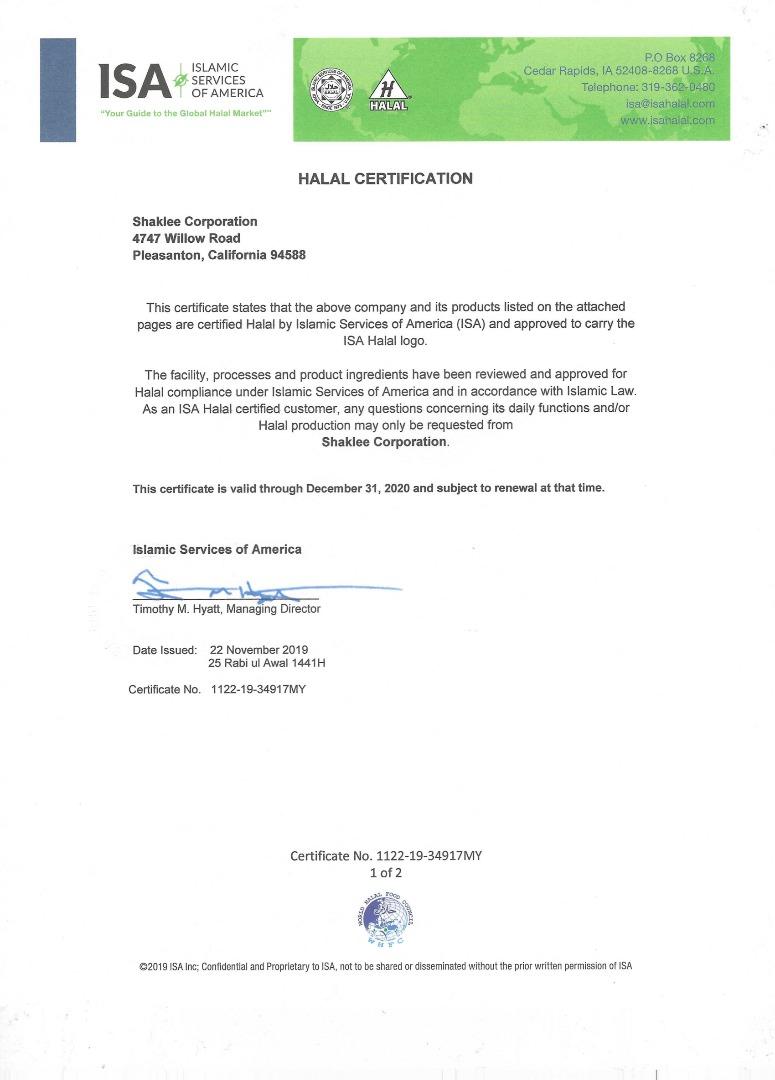 Sijil Halal Shaklee 2020 - Page 1