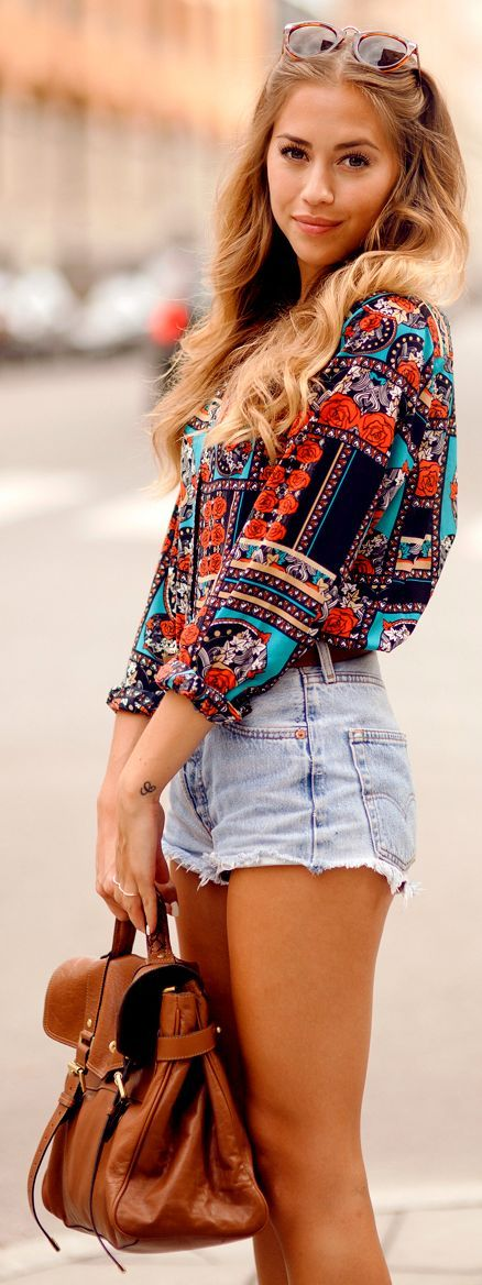 shorts and a printed blouse