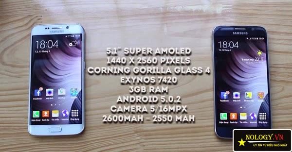 So sánh Samsung Galaxy S6 và Samsung Galaxy S6 Edge.