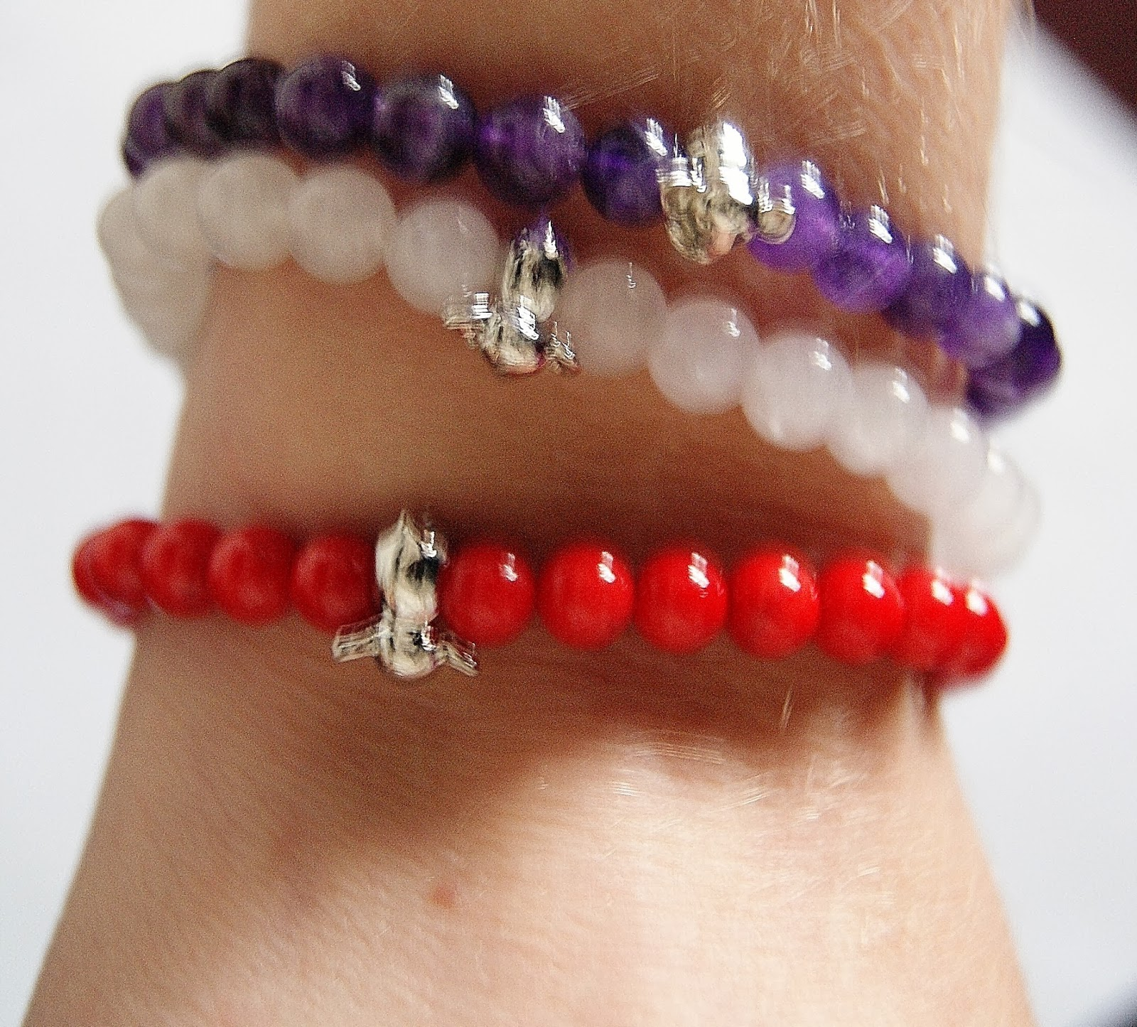 Joseph Nogucci Memory Stone Elephant Bracelets: Purple Amethyst Friendship, White Jade Renewal, Red Coral Love Fashion Style Jewlery Melanie.Ps The Purple Scarf Toronto Canadian
