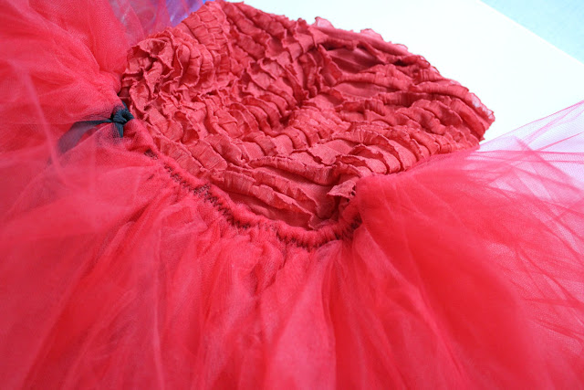 ruffle fabric and tulle dress