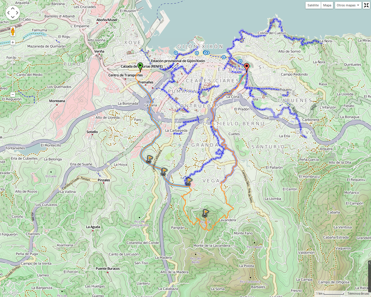 Senda Verde Camocha - Pico Sol - Senda Piles: Mapa de la ruta