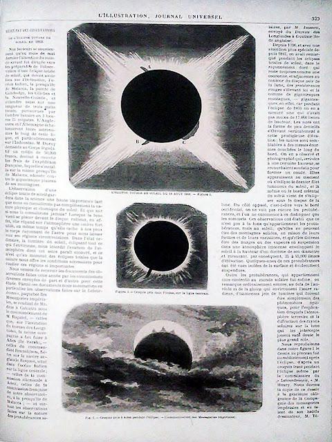 ภาพสุริยุปราคาในวันที่ 18 สิงหาคม พ.ศ. 2411 จากหนังสือ L'Illustration ของฝรั่งเศส