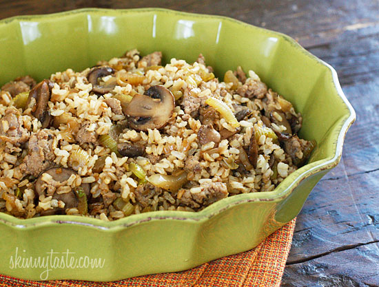 Chicken Sausage Brown Rice Stuffing with Celery and Mushrooms ...