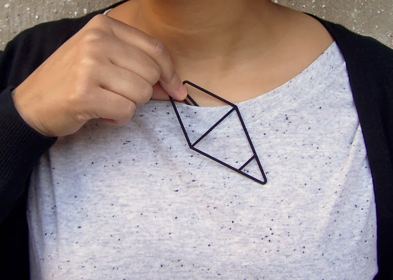 geometric design 3D printed clip on jewelry