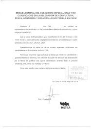 Escrito de USTEA a la mesa electoral de la Consejería de Agricultura, Gandería, Pesca y Desarrollo