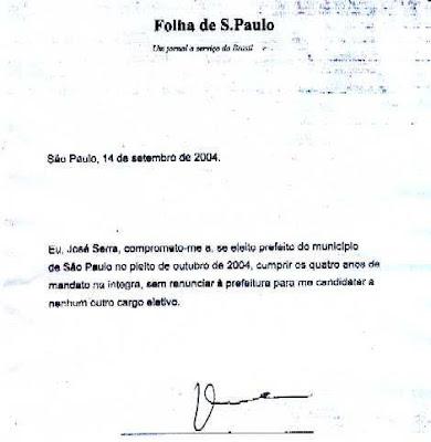 José Serra mentiu: promessa registrada em cartório de que não abandonaria o cargo de prefeito