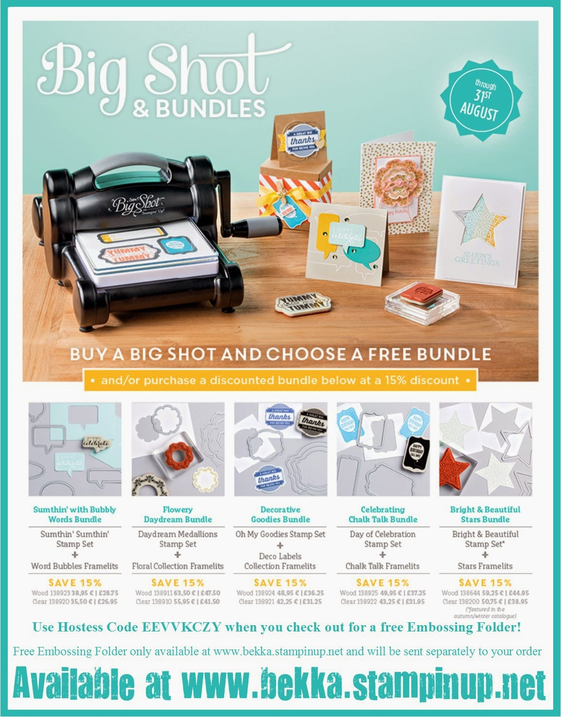 Big Shot and Bundle Offers for August 2014 at www.bekka.stampinup.net
