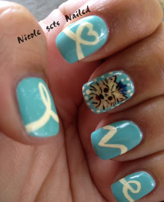 Yorkshire Terrier Nail Art Light Blue Love