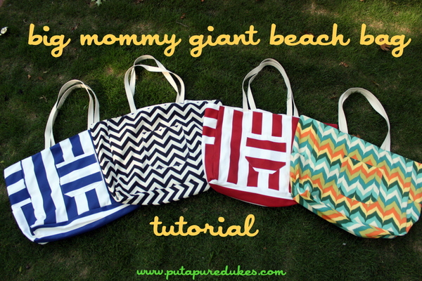 Put Up Your Dukes: The Big Mommy Giant Beach Bag: Free Tutorial