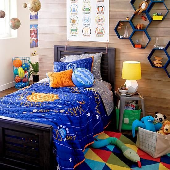 Land of Nod boys bedroom with All Systems Go bedding