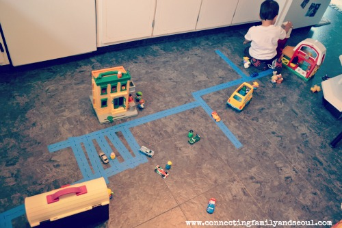 toy cars, creating roads