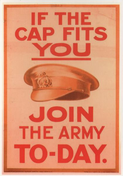 postcard reproduction of a British WWI recruitment poster