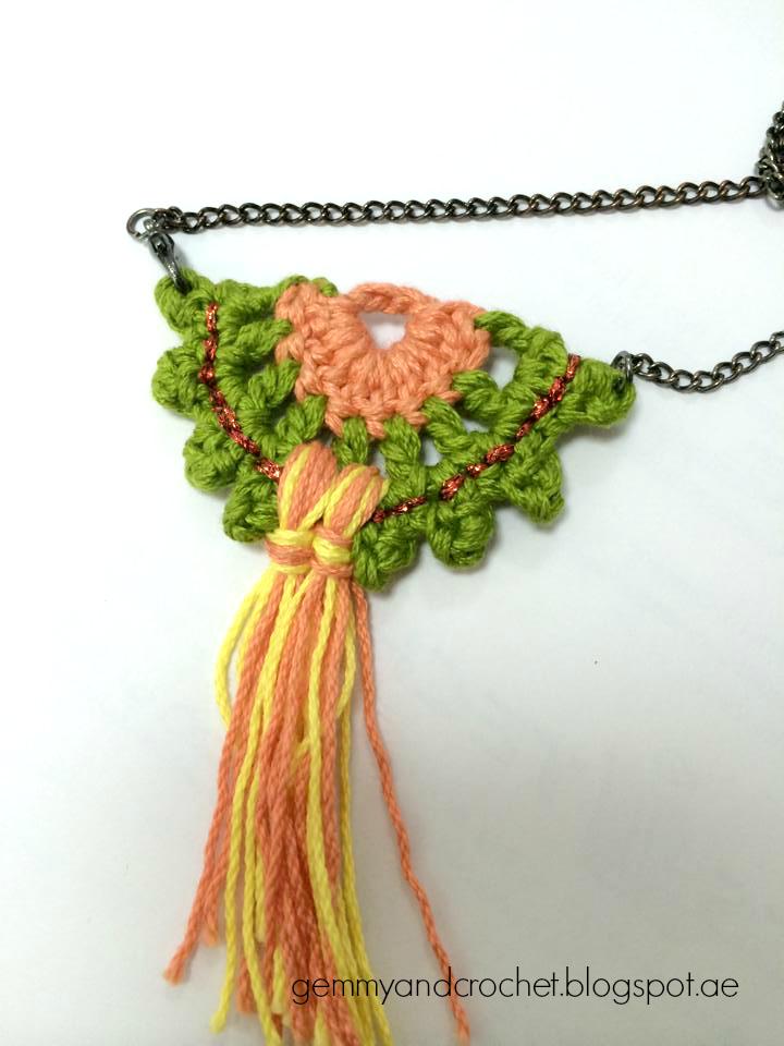 Crochet half moon pendant