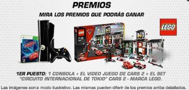 premios consola xbox juego cars2 kit premios cars2 promocion espias sobre ruedas de The walt Disney Company Mexico 2011