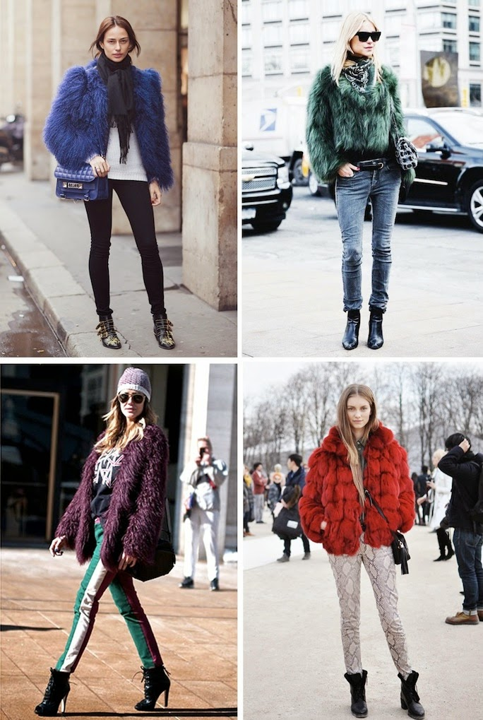 colored fur coats, street style