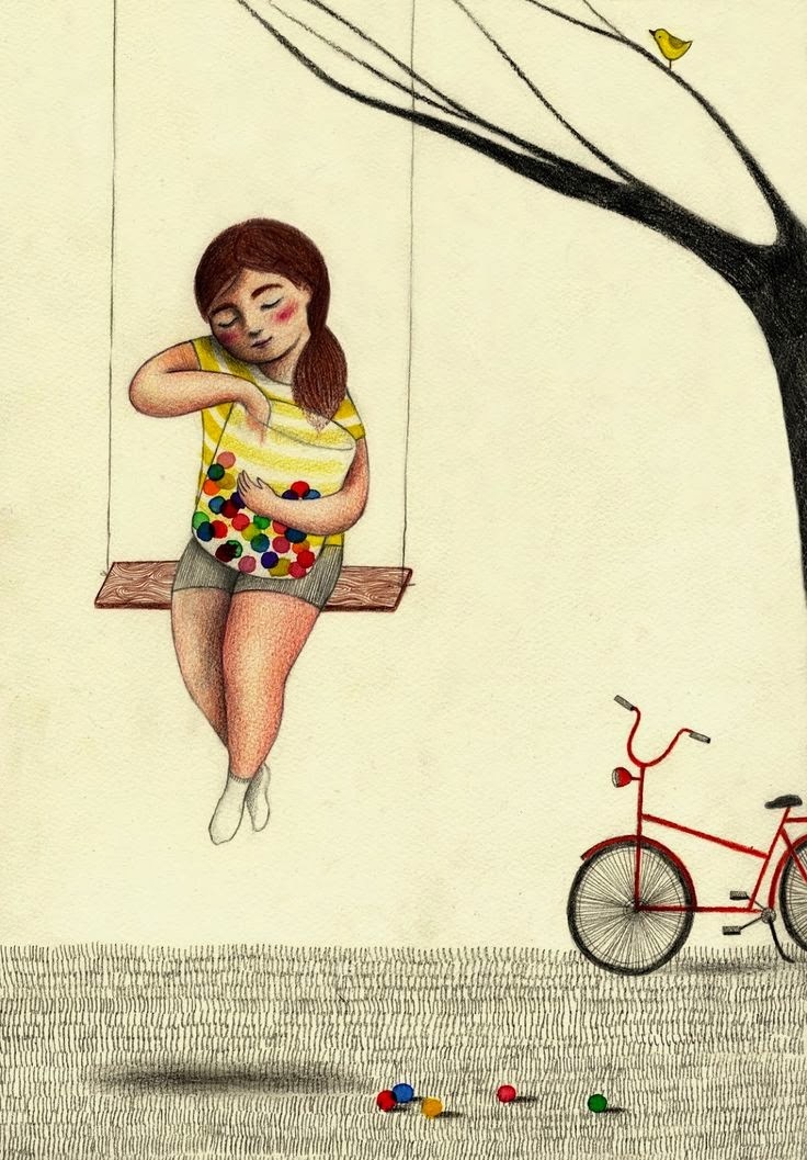 girl on a swing illustration by Giulia Tomai
