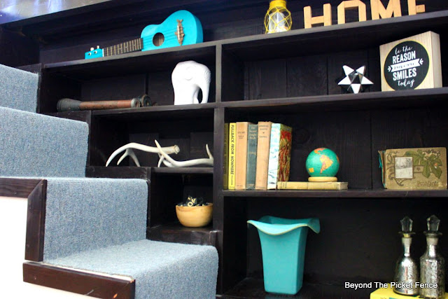 shelf, style, TJ MAXX, elephant, old books,pops of color, bookshelf, http://bec4-beyondthepicketfence.blogspot.com/2015/08/styling-difficult-to-style-shelves.html