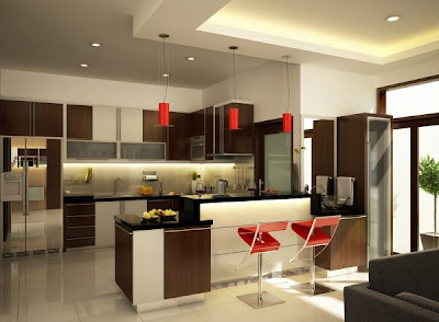 modern kitchen design with red bar chairs