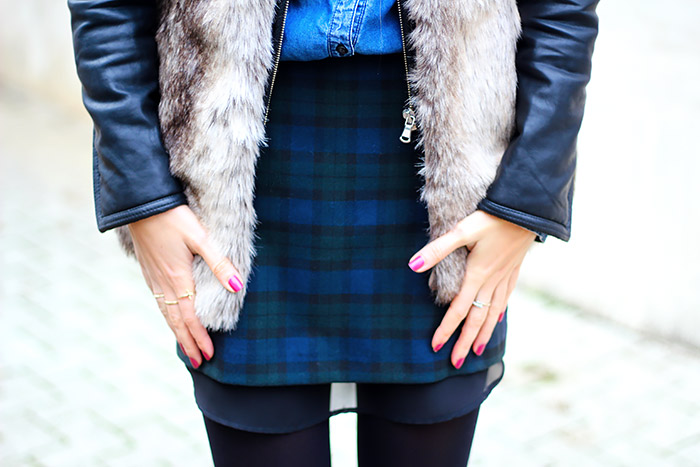 faux fur vest, moto jacket, denim, fall outfit, fashion