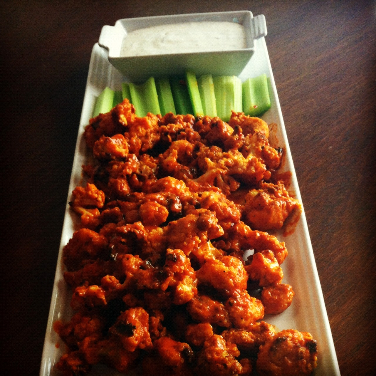 fried buffalo chicken skewers crispy buffalo fried cauliflower vegan ...