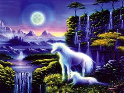 Fantasy landscape with unicorns