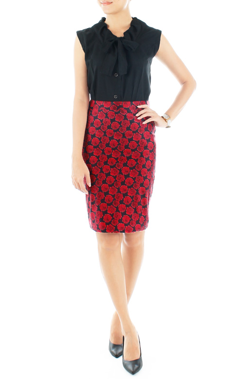 Secret Red Rose Pencil Skirt