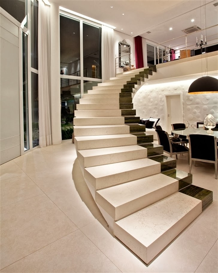 Marble stairs in Dream home by Pupo Gaspar Arquitetura at night