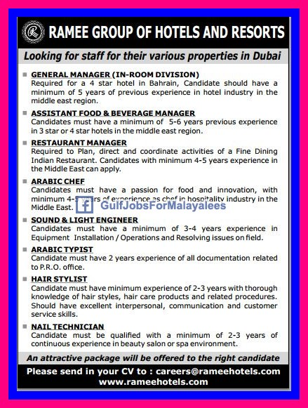 Vacancies For Ramee Group Of Hotels Resorts Dubai Uae Australian Jobs Canada Usa