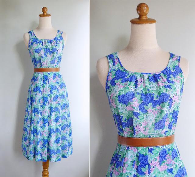 vintage 70's blue floral print dress