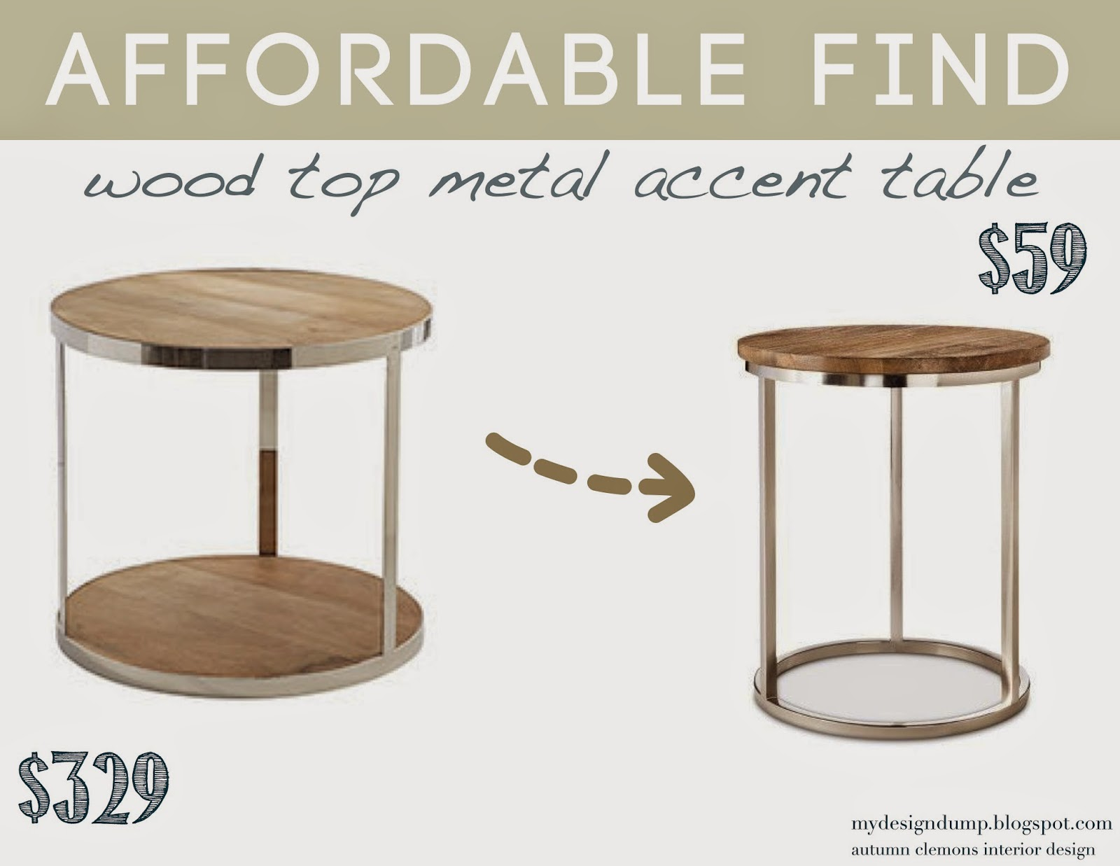 Cylinder Side Table $329 (currently On Sale For $279) Metal Accent Table  With Wood Top