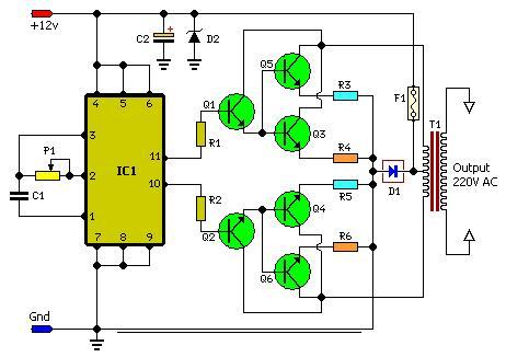 Rangkaian Inverter Sederhana 100 Watt