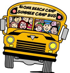 Aloha Beach Camp bus graphic cartoon with bus driver and campers inside.