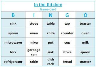 Blue & white Bingo game card for ESL vocabulary Bingo game