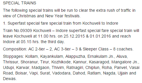 Christmas 2015 New Year 2016 Special train from Kochuveli to Indore