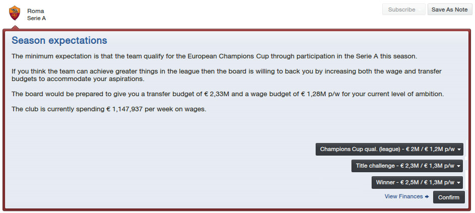 FM13 Roma Season Expectations