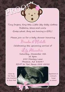 Girl Baby Shower Invitation Monkey