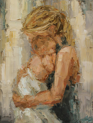 whitney, mother and baby painting, impasto style painting, Kathryn Morris Trotter, www.kathryntrotterart.com, nursery art, baby paintings, mother