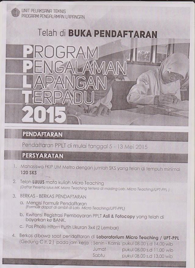 Telah Dibuka Pendaftaran PPLT Tahun 2015