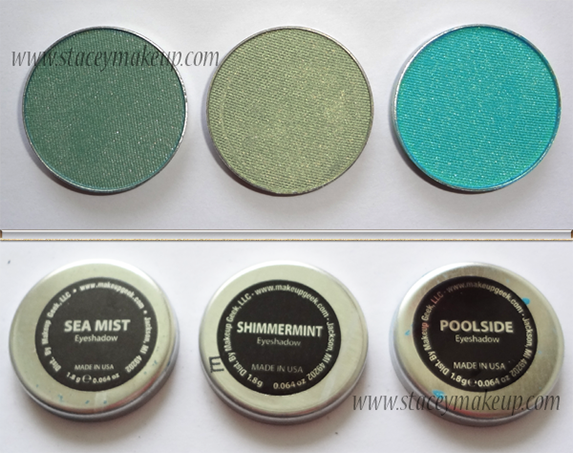Makeup Geek Eyeshadows sea mist, shimmermint, poolside