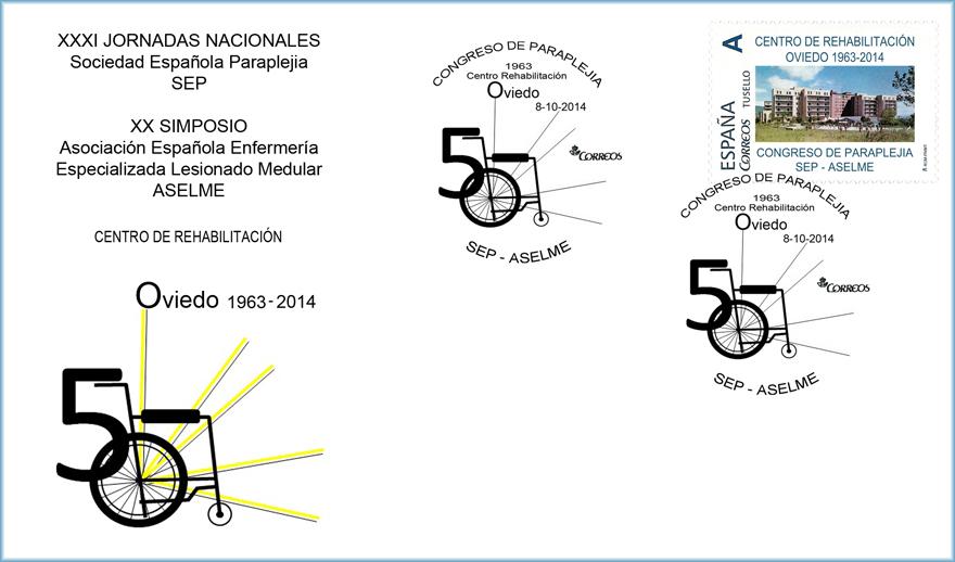 Sobre matasellado con sello personalizado del Congreso de Paraplejia