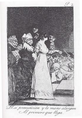 'El sí pronuncian y la mano alargan al primero que llega' - Grabado nº 2 de 'Los Caprichos' de Francisco de Goya