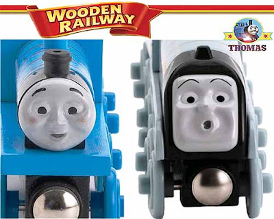 Unique train model versions of Thomas wooden railway Edward the train and Spencer the silver engine