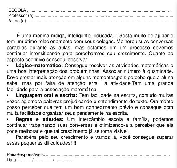 Muito Modelos de relatorios para educacao infantil - Dulcy Jarina  CS36