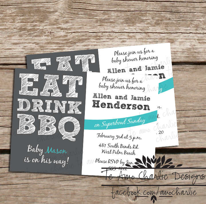 eat drink bbq baby shower invites